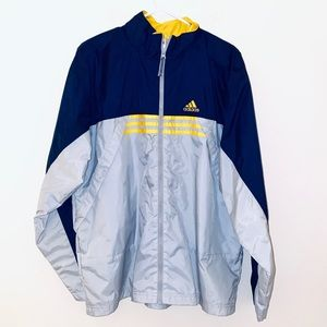 Adidas mens M gray yellow navy windbreaker